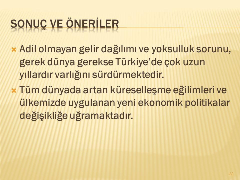 Sonuç ve önerİLER Adil olmayan gelir dağılımı ve yoksulluk sorunu, gerek dünya gerekse Türkiye'de çok uzun yıllardır varlığını sürdürmektedir.