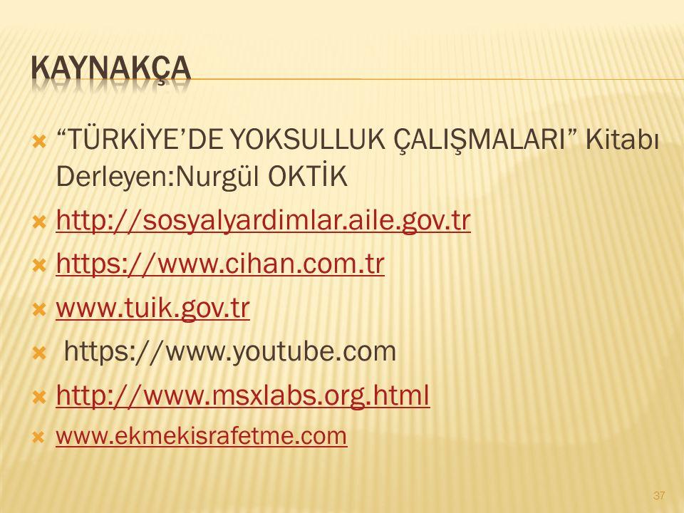 kaynakça TÜRKİYE'DE YOKSULLUK ÇALIŞMALARI Kitabı Derleyen:Nurgül OKTİK. http://sosyalyardimlar.aile.gov.tr.