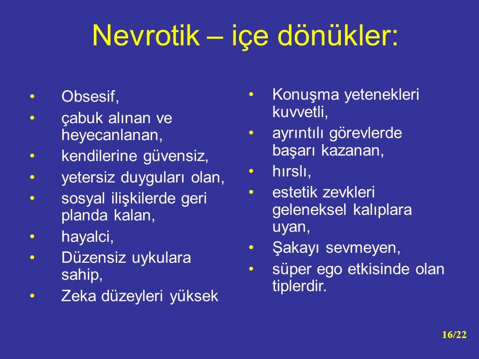 Nevrotik – içe dönükler: