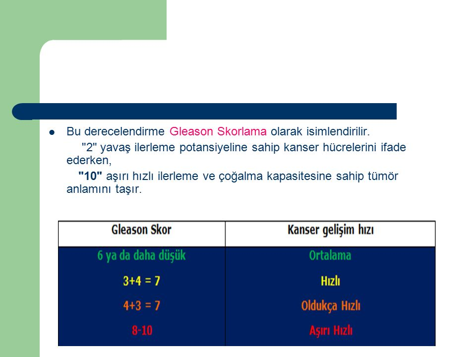 Bu derecelendirme Gleason Skorlama olarak isimlendirilir.
