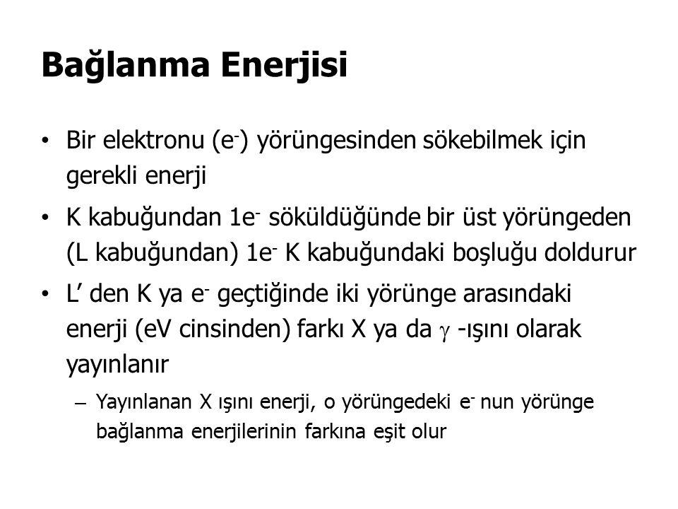 Bağlanma Enerjisi Bir elektronu (e-) yörüngesinden sökebilmek için gerekli enerji.