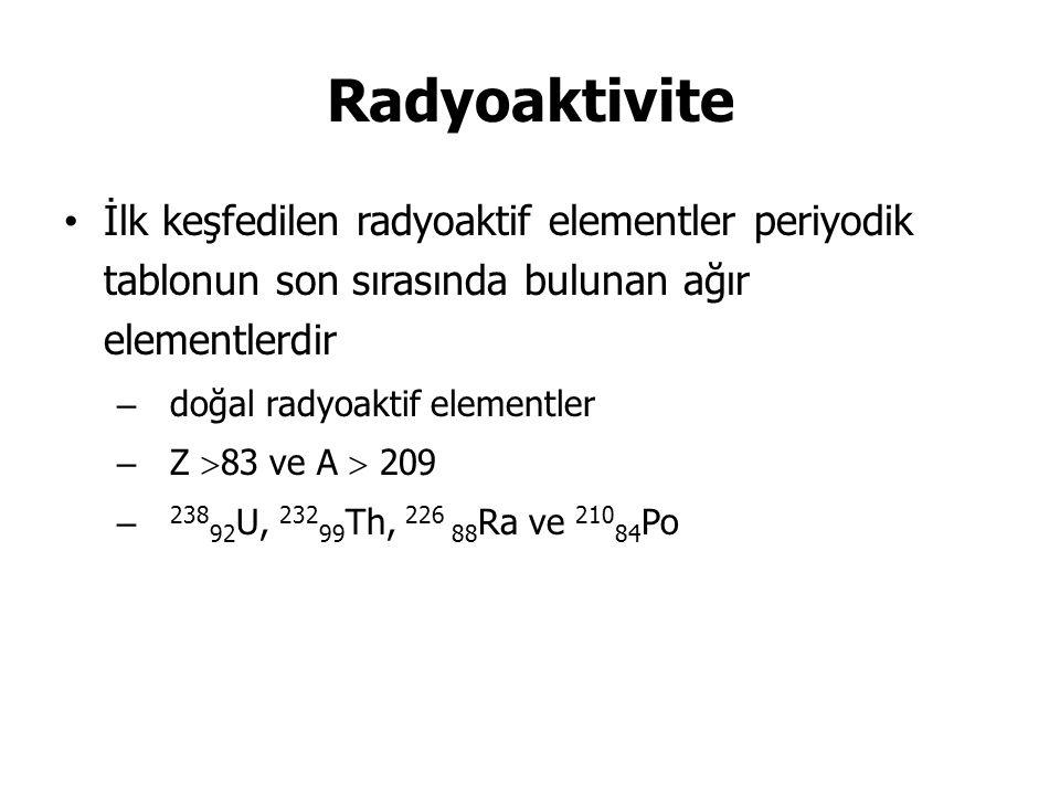 Radyoaktivite İlk keşfedilen radyoaktif elementler periyodik tablonun son sırasında bulunan ağır elementlerdir.