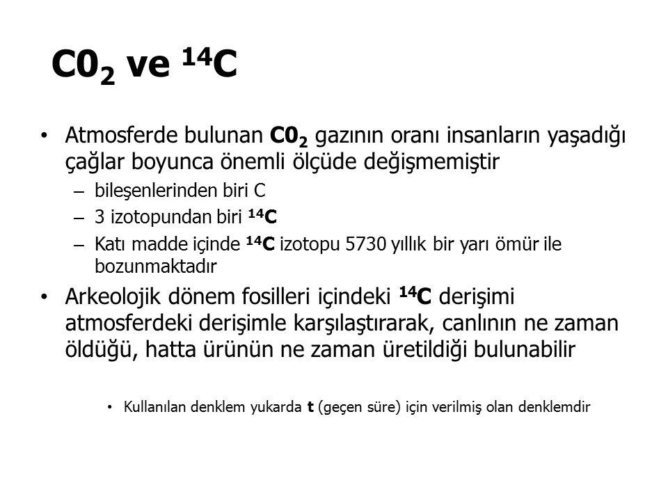 C02 ve 14C Atmosferde bulunan C02 gazının oranı insanların yaşadığı çağlar boyunca önemli ölçüde değişmemiştir.