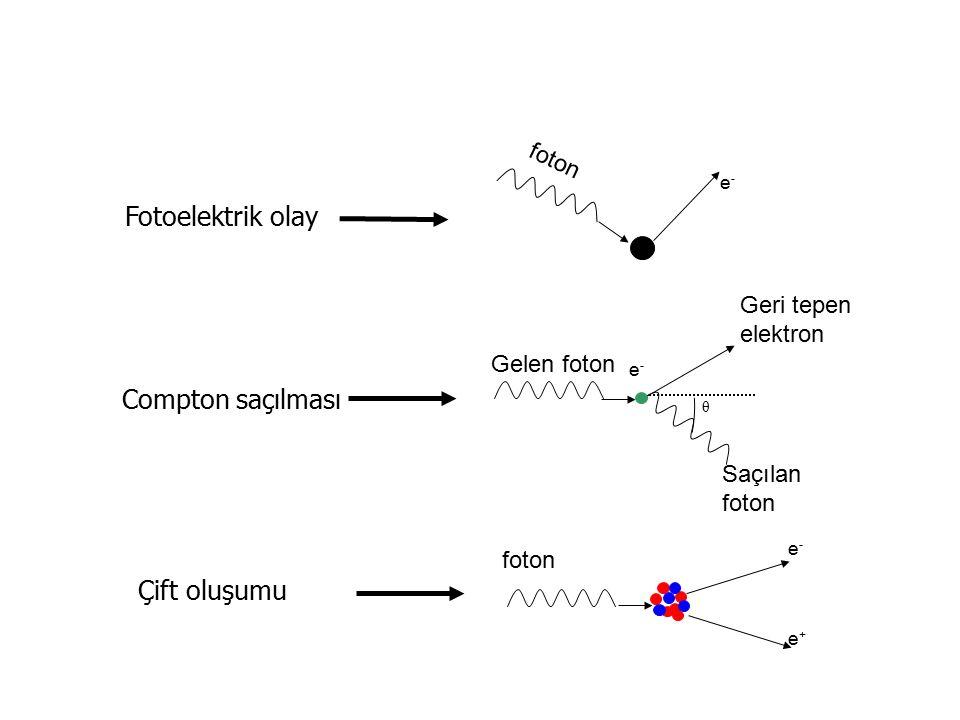 Fotoelektrik olay Compton saçılması Çift oluşumu Geri tepen elektron