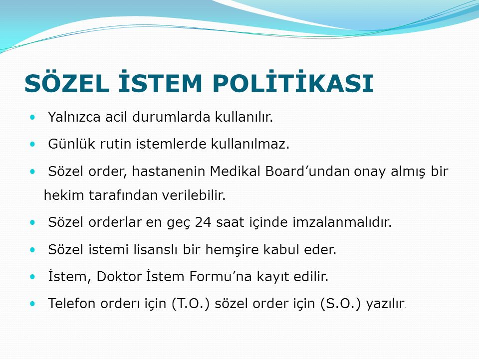 SÖZEL İSTEM POLİTİKASI