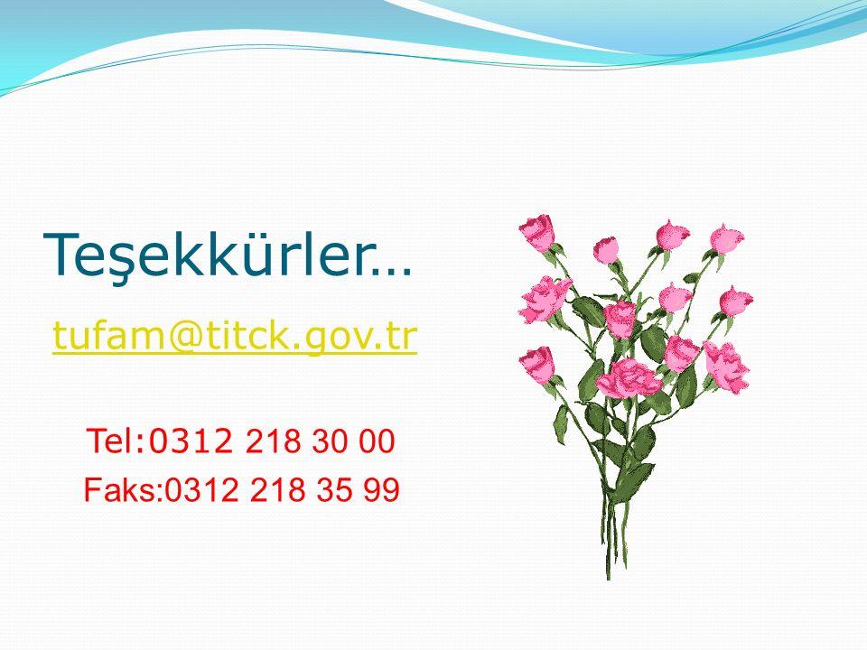 Teşekkürler… tufam@titck.gov.tr Tel:0312 218 30 00 Faks:0312 218 35 99