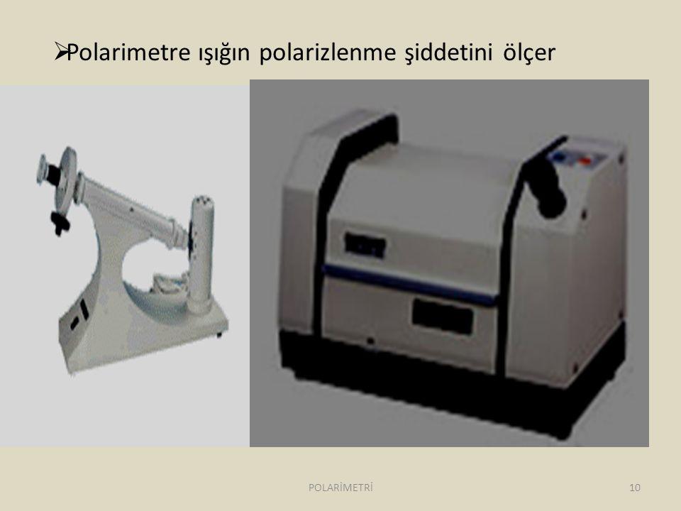 Polarimetre ışığın polarizlenme şiddetini ölçer