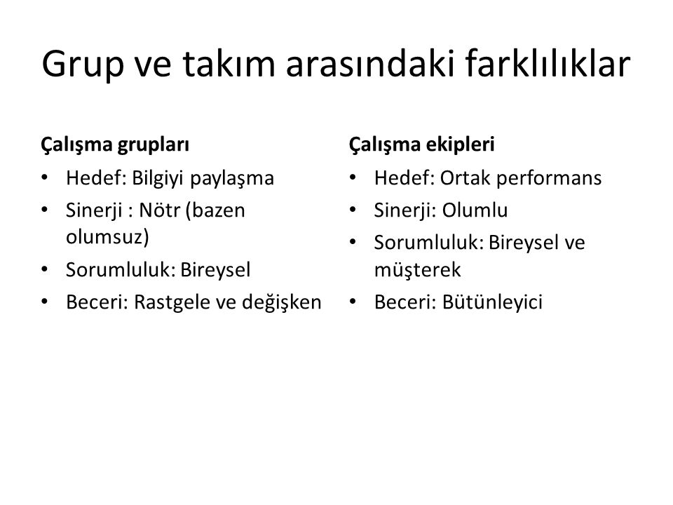 Grup ve takım arasındaki farklılıklar