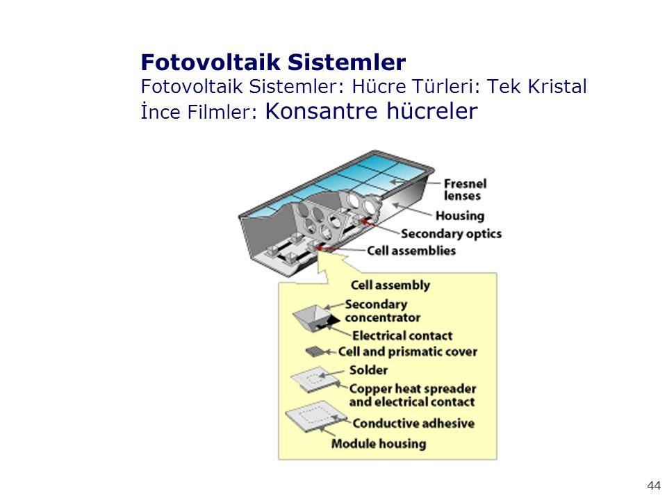 Fotovoltaik Sistemler Fotovoltaik Sistemler: Hücre Türleri: Tek Kristal İnce Filmler: Konsantre hücreler