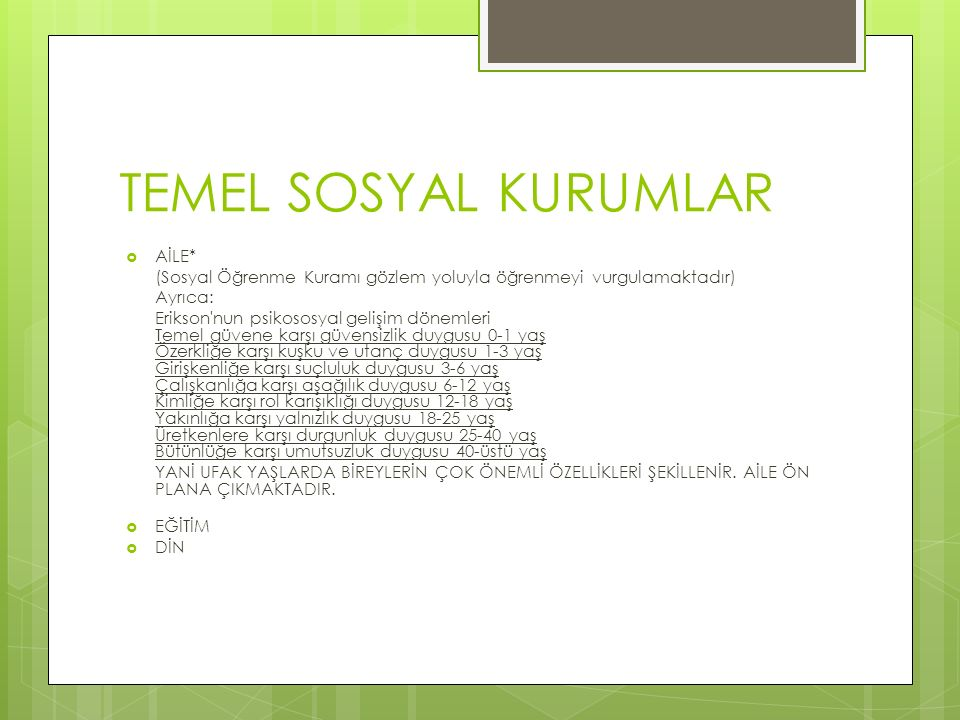 TEMEL SOSYAL KURUMLAR AİLE*