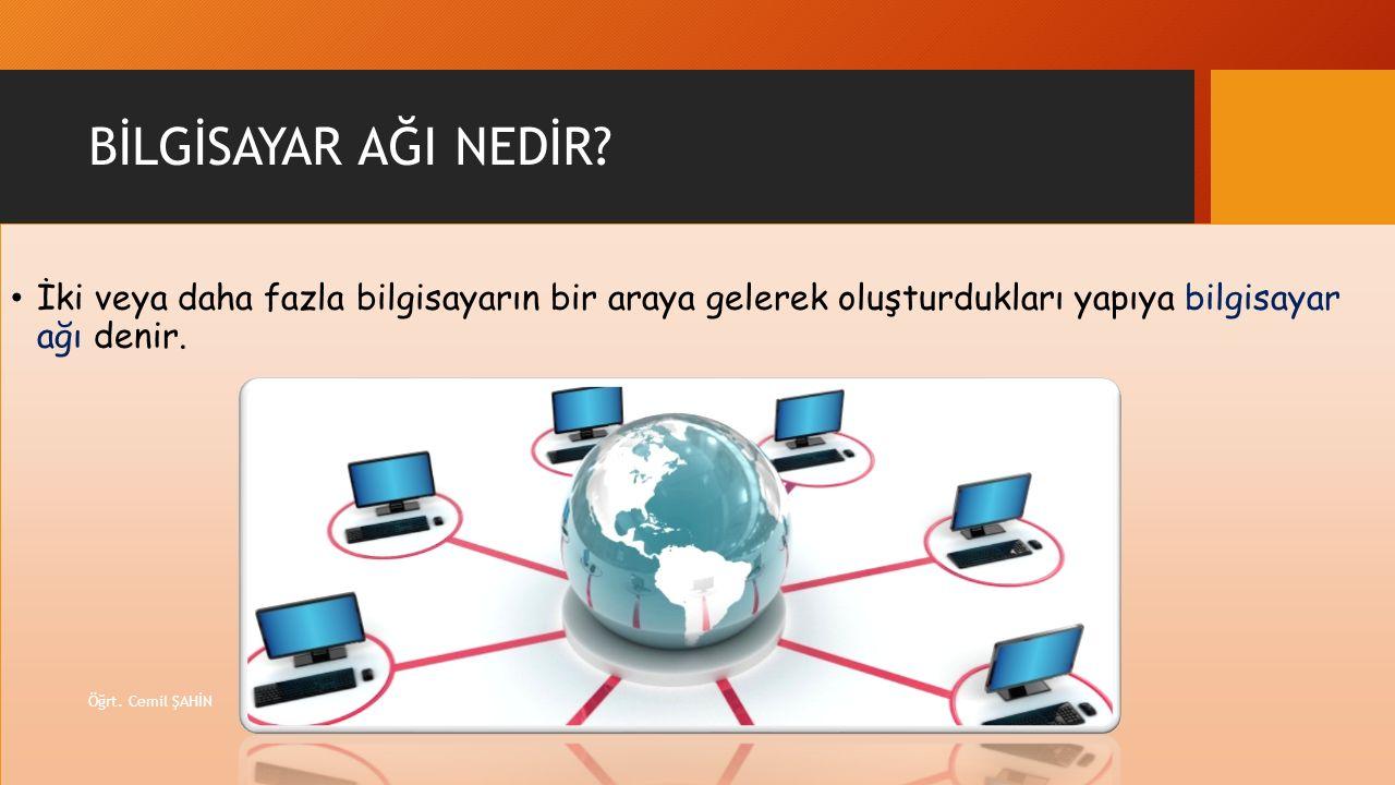 BİLGİSAYAR AĞI NEDİR İki veya daha fazla bilgisayarın bir araya gelerek oluşturdukları yapıya bilgisayar ağı denir.