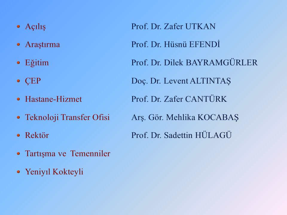 Açılış Prof. Dr. Zafer UTKAN