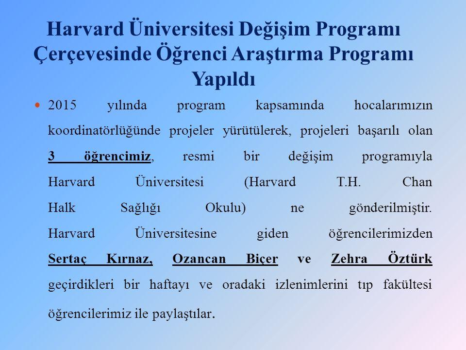 Harvard Üniversitesi Değişim Programı Çerçevesinde Öğrenci Araştırma Programı Yapıldı