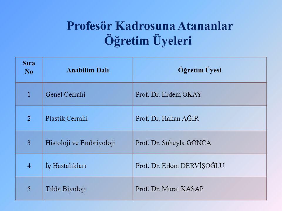 Profesör Kadrosuna Atananlar Öğretim Üyeleri
