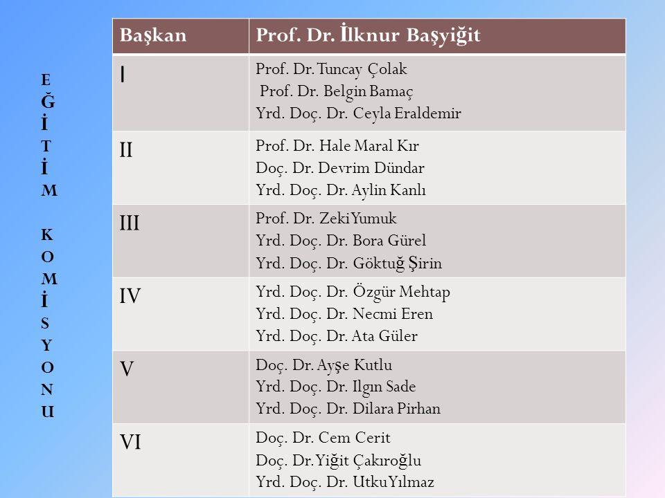 I II III IV V VI Başkan Prof. Dr. İlknur Başyiğit