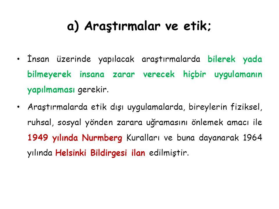 a) Araştırmalar ve etik;