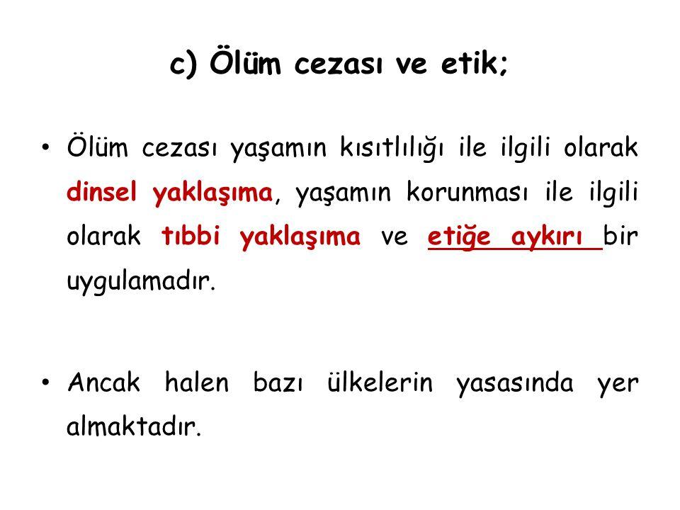 c) Ölüm cezası ve etik;