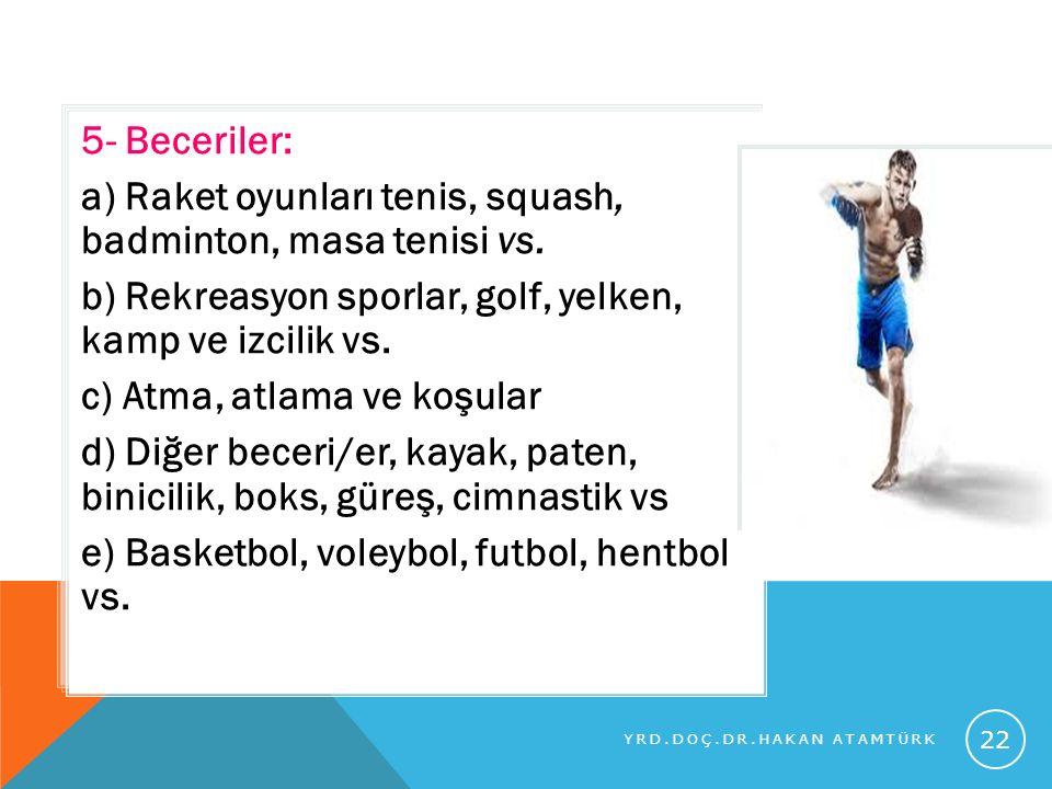 a) Raket oyunları tenis, squash, badminton, masa tenisi vs.