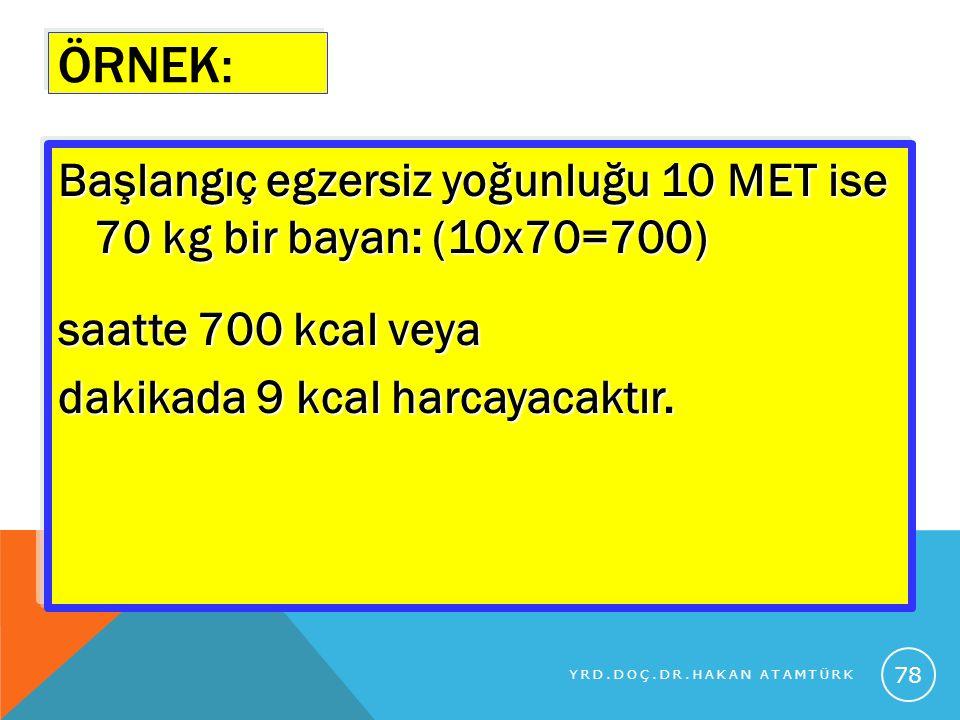 ÖRNEK: Başlangıç egzersiz yoğunluğu 10 MET ise 70 kg bir bayan: (10x70=700) saatte 700 kcal veya dakikada 9 kcal harcayacaktır.