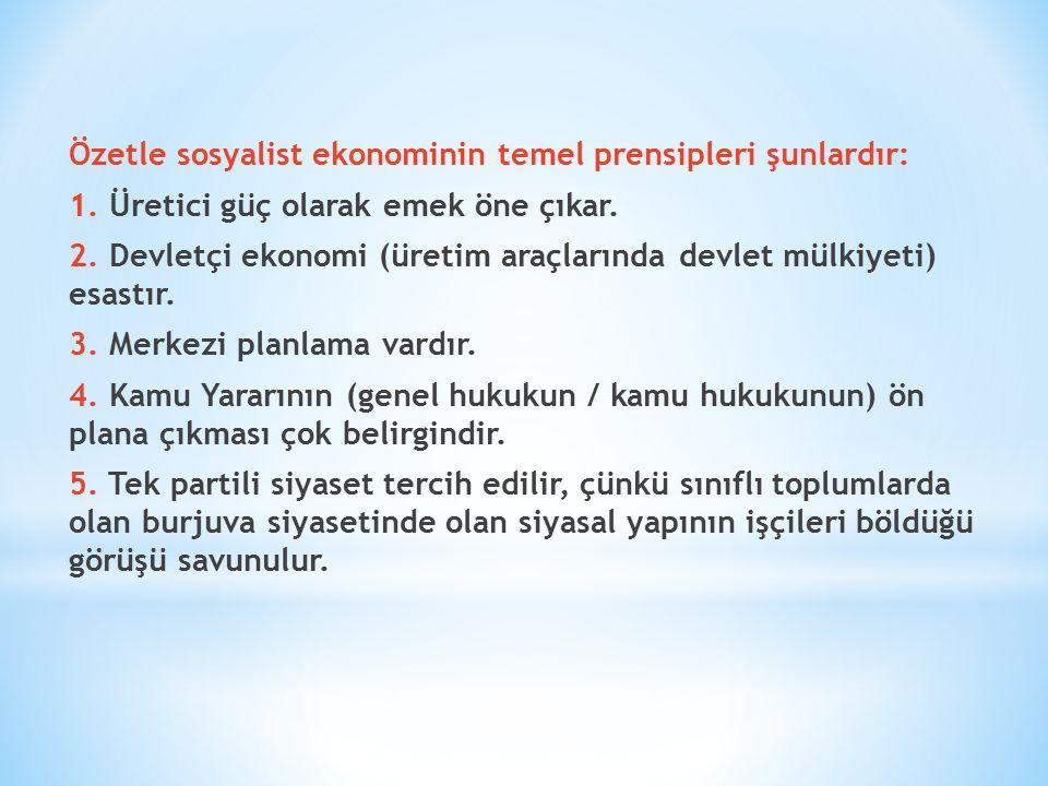 Özetle sosyalist ekonominin temel prensipleri şunlardır: