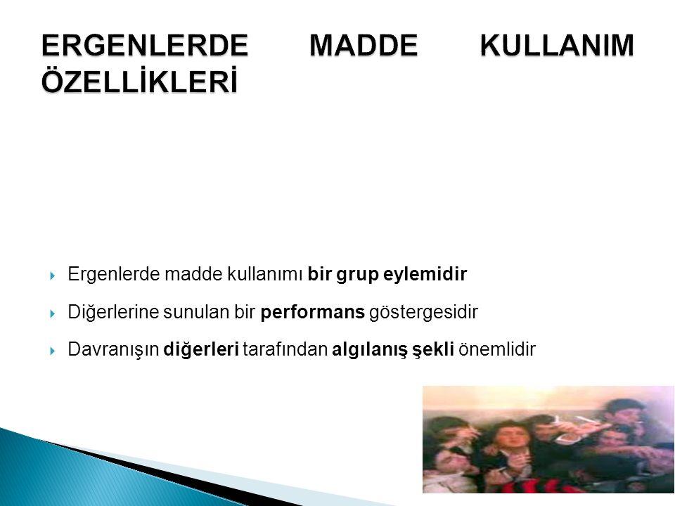 ERGENLERDE MADDE KULLANIM ÖZELLİKLERİ