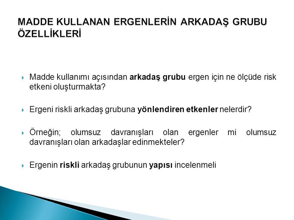 MADDE KULLANAN ERGENLERİN ARKADAŞ GRUBU ÖZELLİKLERİ