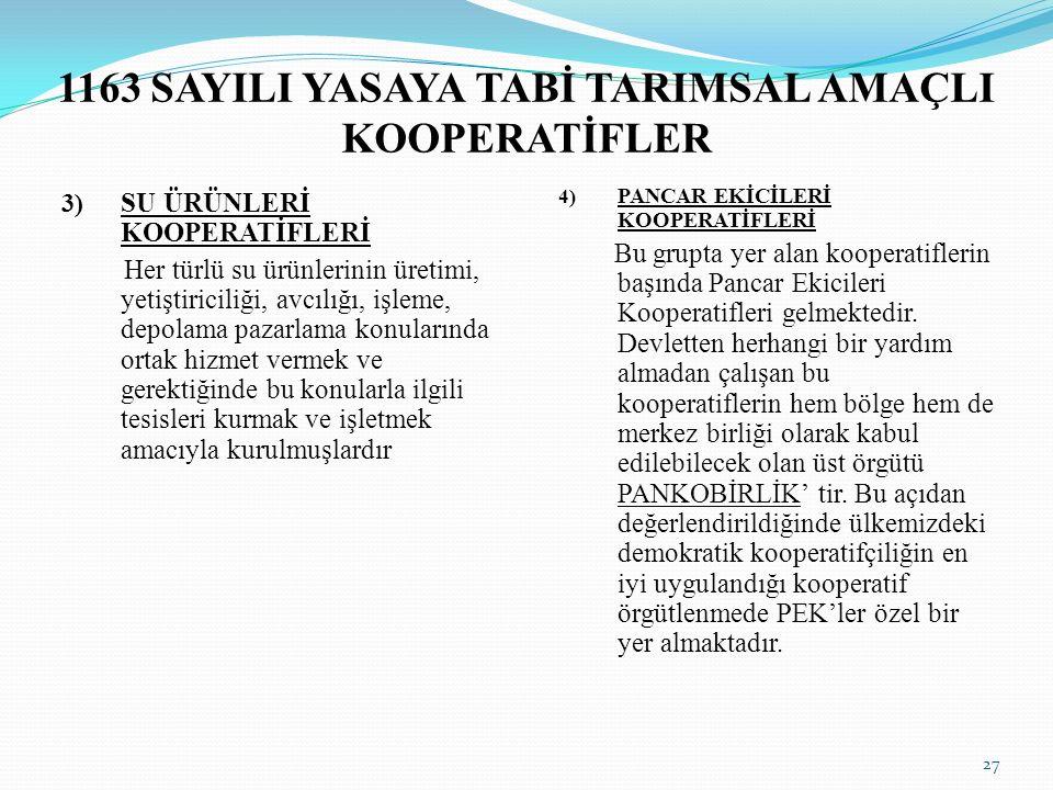 1163 SAYILI YASAYA TABİ TARIMSAL AMAÇLI KOOPERATİFLER