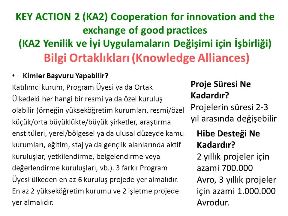 KEY ACTION 2 (KA2) Cooperation for innovation and the exchange of good practices (KA2 Yenilik ve İyi Uygulamaların Değişimi için İşbirliği) Bilgi Ortaklıkları (Knowledge Alliances)