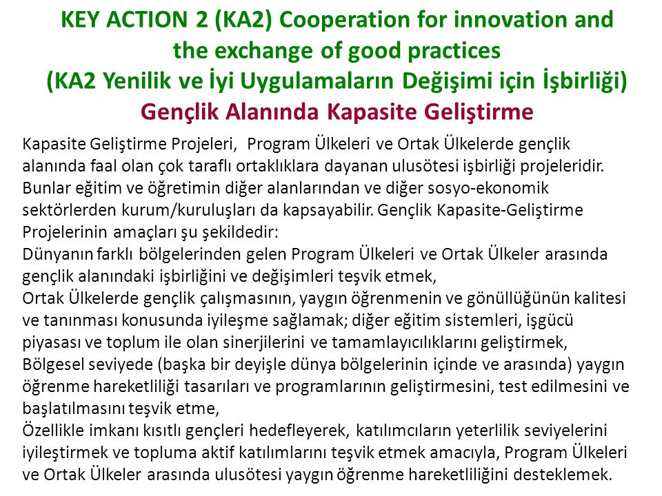 KEY ACTION 2 (KA2) Cooperation for innovation and the exchange of good practices (KA2 Yenilik ve İyi Uygulamaların Değişimi için İşbirliği) Gençlik Alanında Kapasite Geliştirme