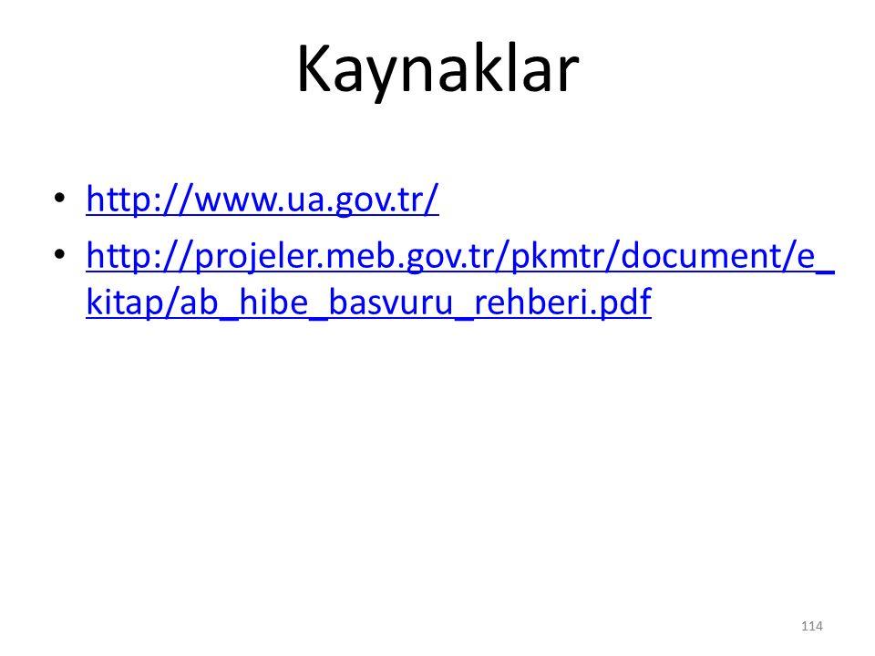 Kaynaklar http://www.ua.gov.tr/