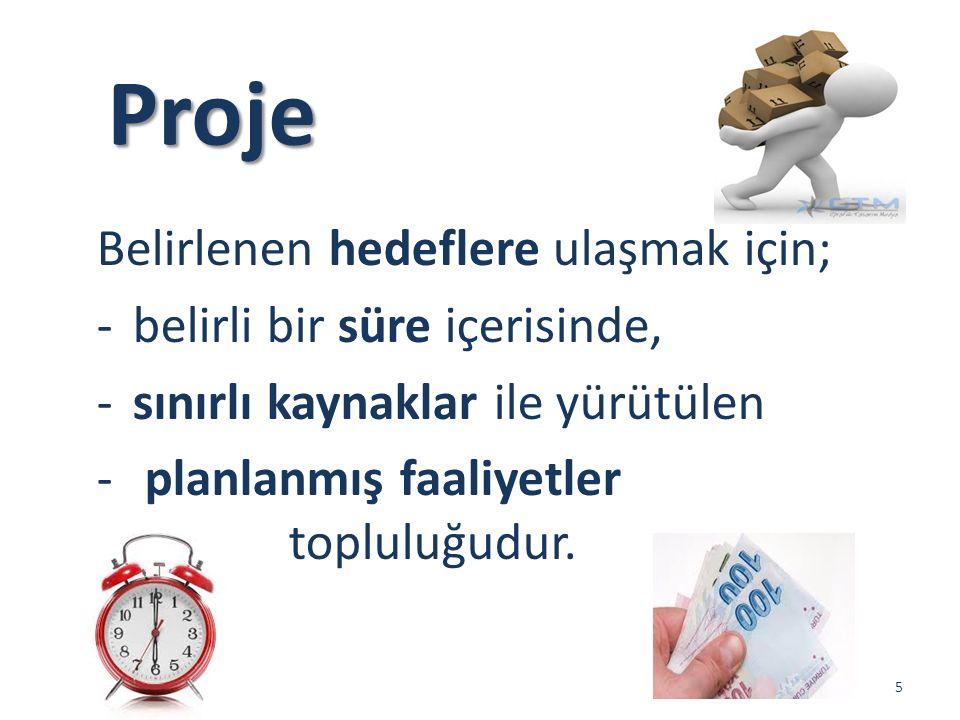 Proje Belirlenen hedeflere ulaşmak için; belirli bir süre içerisinde,