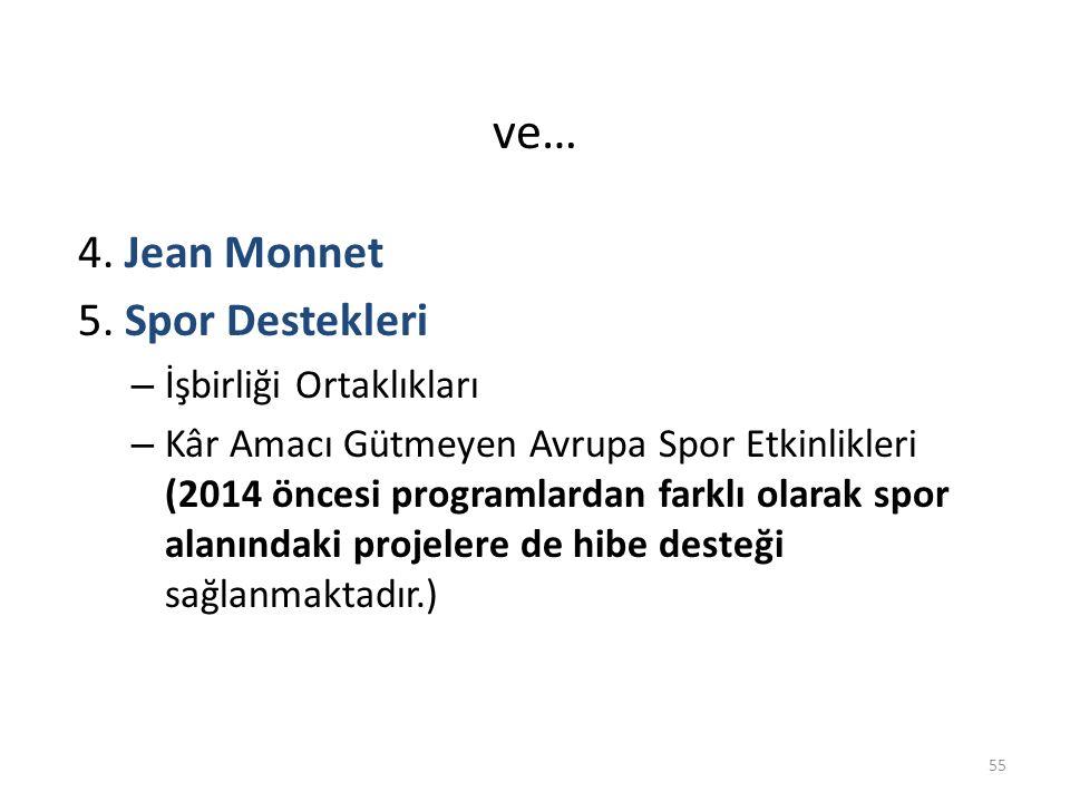 ve… 4. Jean Monnet 5. Spor Destekleri İşbirliği Ortaklıkları