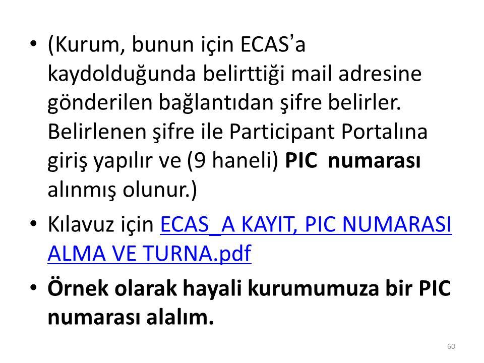 (Kurum, bunun için ECAS'a kaydolduğunda belirttiği mail adresine gönderilen bağlantıdan şifre belirler. Belirlenen şifre ile Participant Portalına giriş yapılır ve (9 haneli) PIC numarası alınmış olunur.)