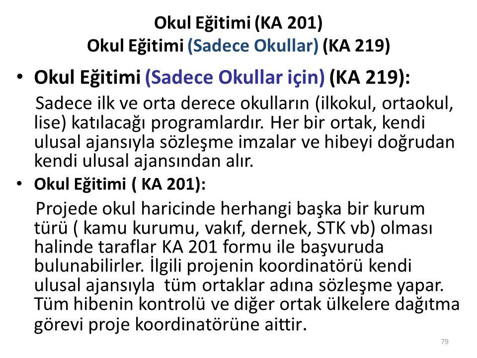 Okul Eğitimi (KA 201) Okul Eğitimi (Sadece Okullar) (KA 219)