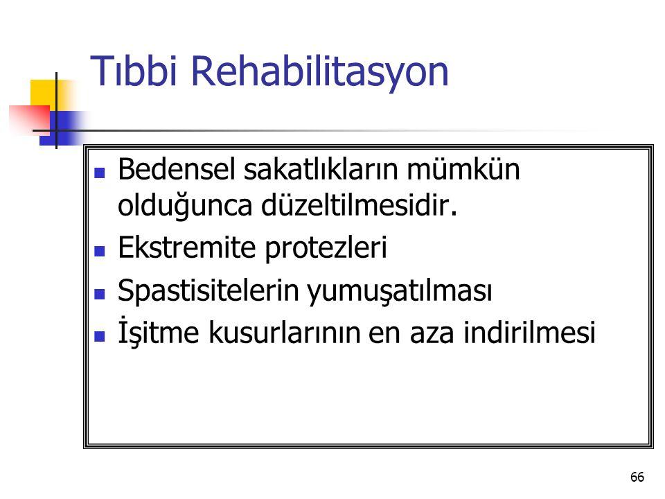 Tıbbi Rehabilitasyon Bedensel sakatlıkların mümkün olduğunca düzeltilmesidir. Ekstremite protezleri.