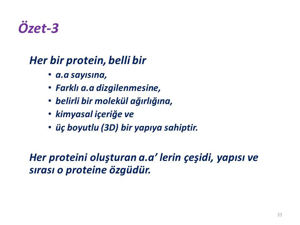 Özet-3 Her bir protein, belli bir