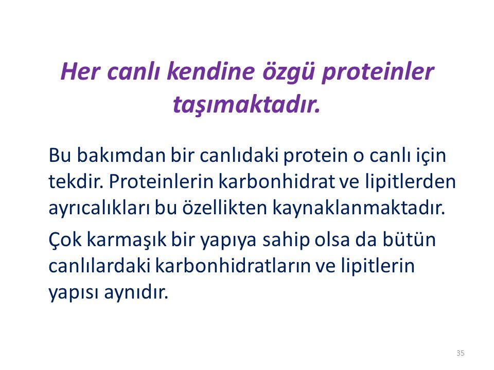 Her canlı kendine özgü proteinler taşımaktadır.