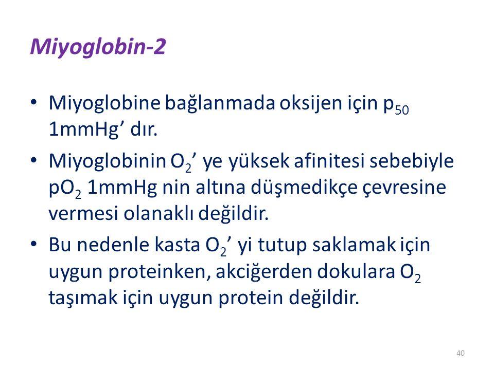 Miyoglobin-2 Miyoglobine bağlanmada oksijen için p50 1mmHg' dır.