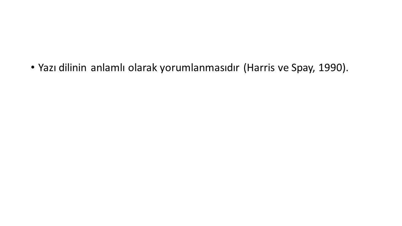Yazı dilinin anlamlı olarak yorumlanmasıdır (Harris ve Spay, 1990).