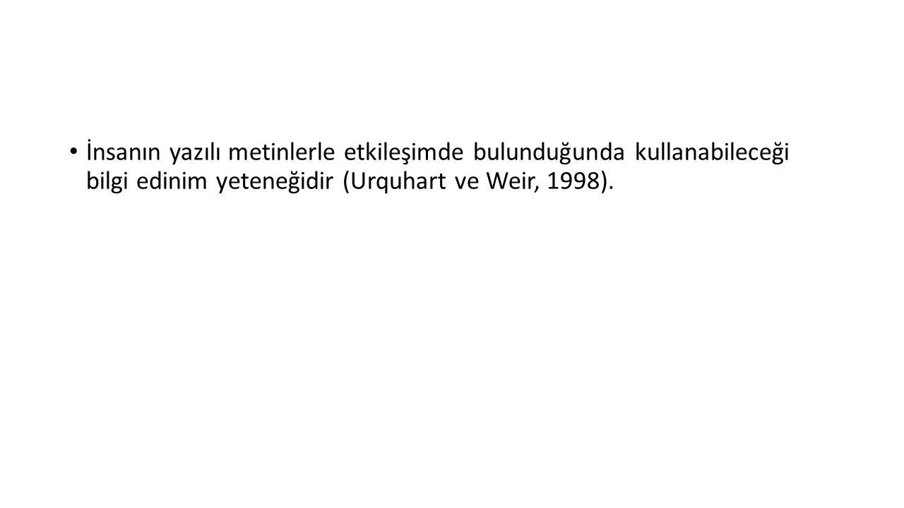 İnsanın yazılı metinlerle etkileşimde bulunduğunda kullanabileceği bilgi edinim yeteneğidir (Urquhart ve Weir, 1998).