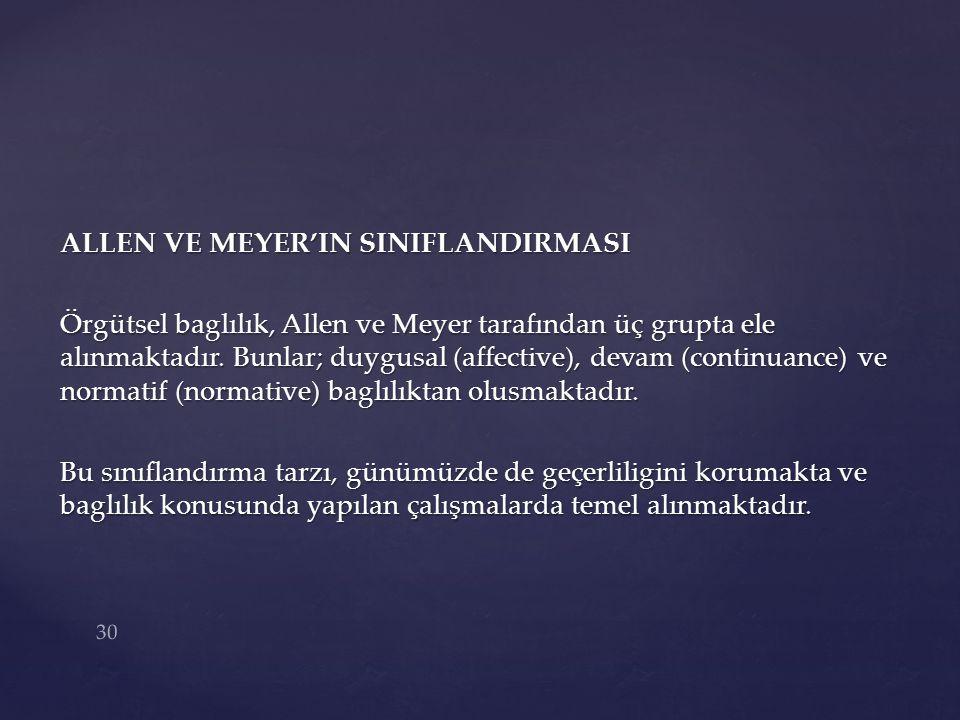 ALLEN VE MEYER'IN SINIFLANDIRMASI Örgütsel baglılık, Allen ve Meyer tarafından üç grupta ele alınmaktadır.