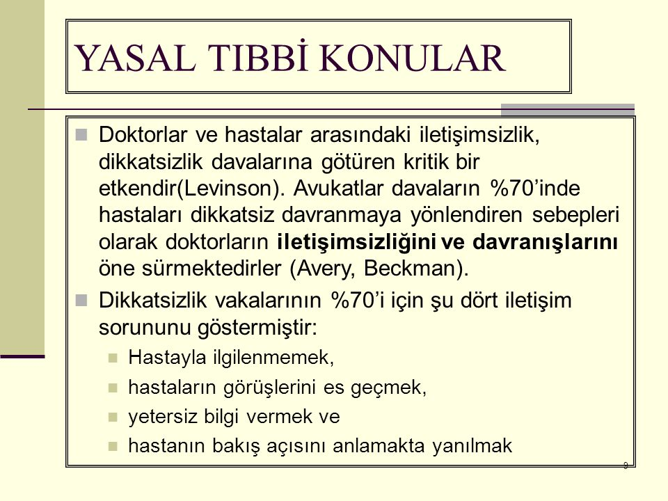 YASAL TIBBİ KONULAR