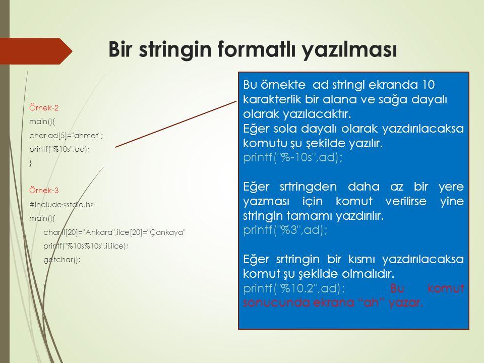 Bir stringin formatlı yazılması