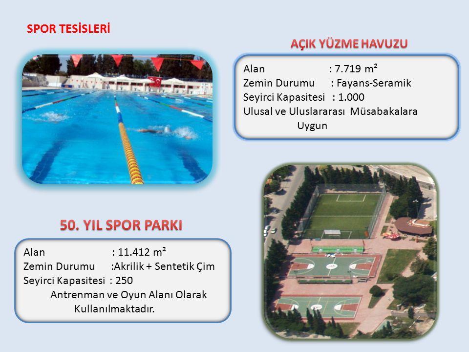 50. YIL SPOR PARKI SPOR TESİSLERİ AÇIK YÜZME HAVUZU Alan : 7.719 m²