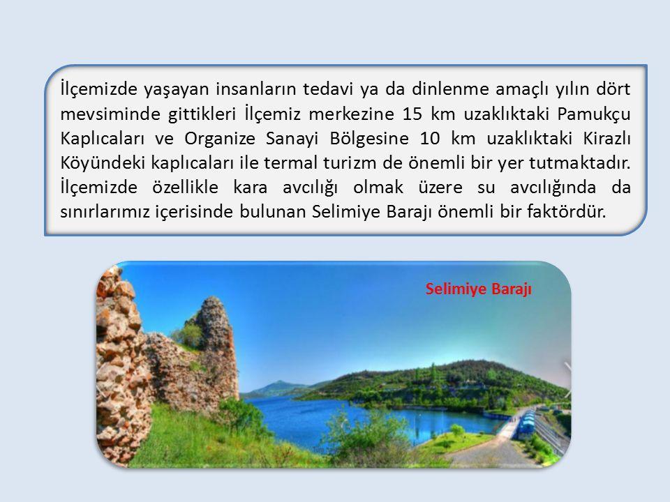 İlçemizde yaşayan insanların tedavi ya da dinlenme amaçlı yılın dört mevsiminde gittikleri İlçemiz merkezine 15 km uzaklıktaki Pamukçu Kaplıcaları ve Organize Sanayi Bölgesine 10 km uzaklıktaki Kirazlı Köyündeki kaplıcaları ile termal turizm de önemli bir yer tutmaktadır. İlçemizde özellikle kara avcılığı olmak üzere su avcılığında da sınırlarımız içerisinde bulunan Selimiye Barajı önemli bir faktördür.