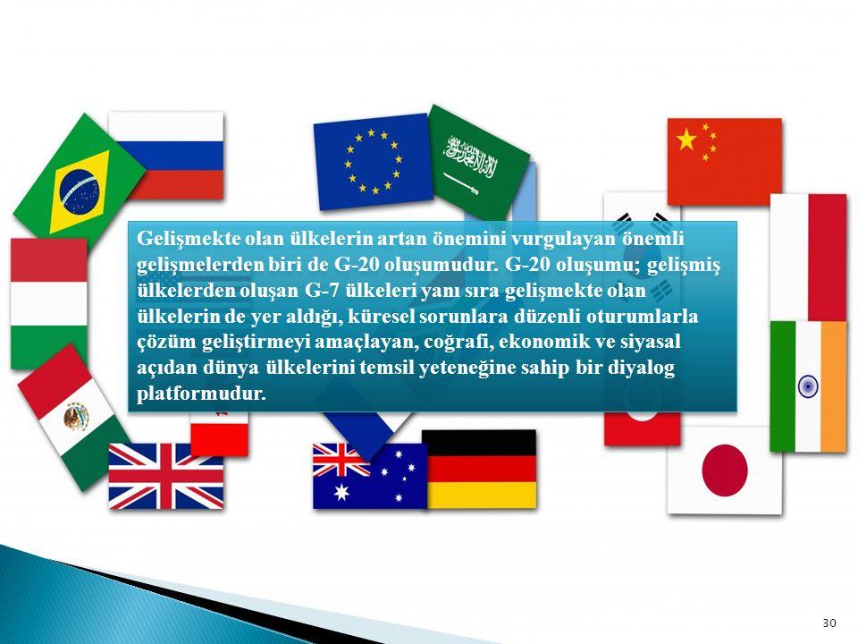 Gelişmekte olan ülkelerin artan önemini vurgulayan önemli gelişmelerden biri de G-20 oluşumudur.