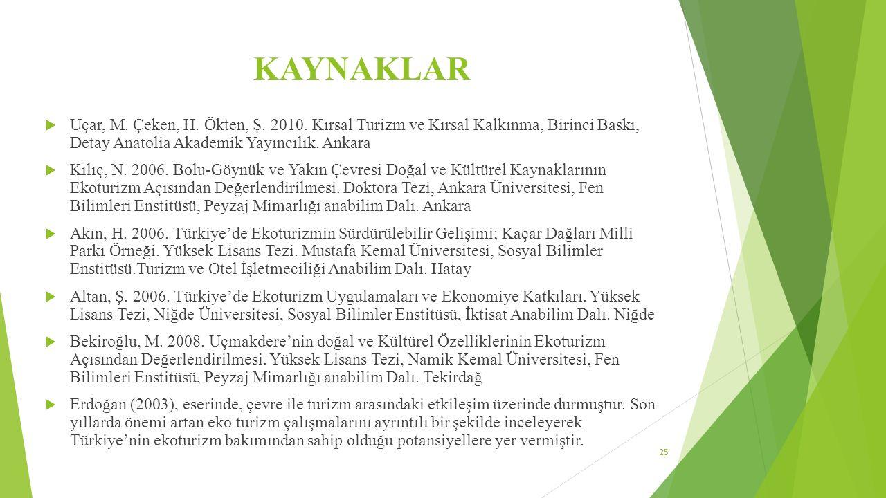 KAYNAKLAR Uçar, M. Çeken, H. Ökten, Ş. 2010. Kırsal Turizm ve Kırsal Kalkınma, Birinci Baskı, Detay Anatolia Akademik Yayıncılık. Ankara.