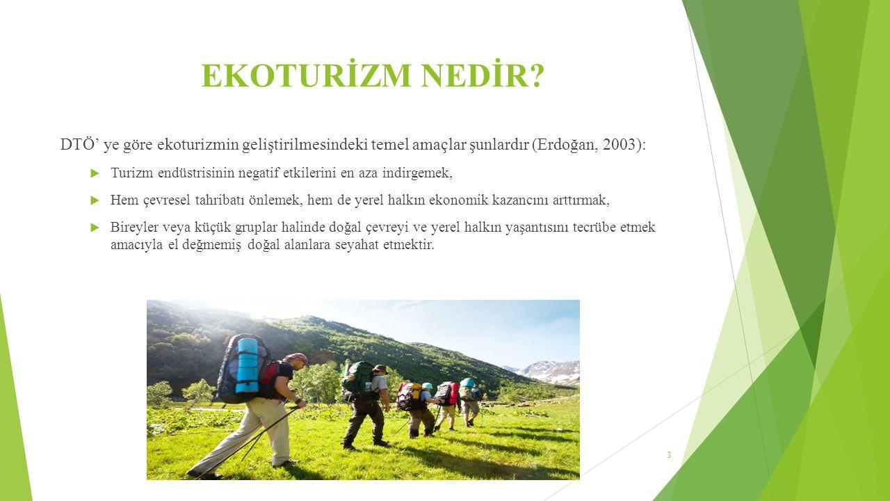 EKOTURİZM NEDİR DTÖ' ye göre ekoturizmin geliştirilmesindeki temel amaçlar şunlardır (Erdoğan, 2003):
