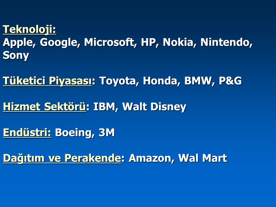 Teknoloji: Apple, Google, Microsoft, HP, Nokia, Nintendo, Sony. Tüketici Piyasası: Toyota, Honda, BMW, P&G.
