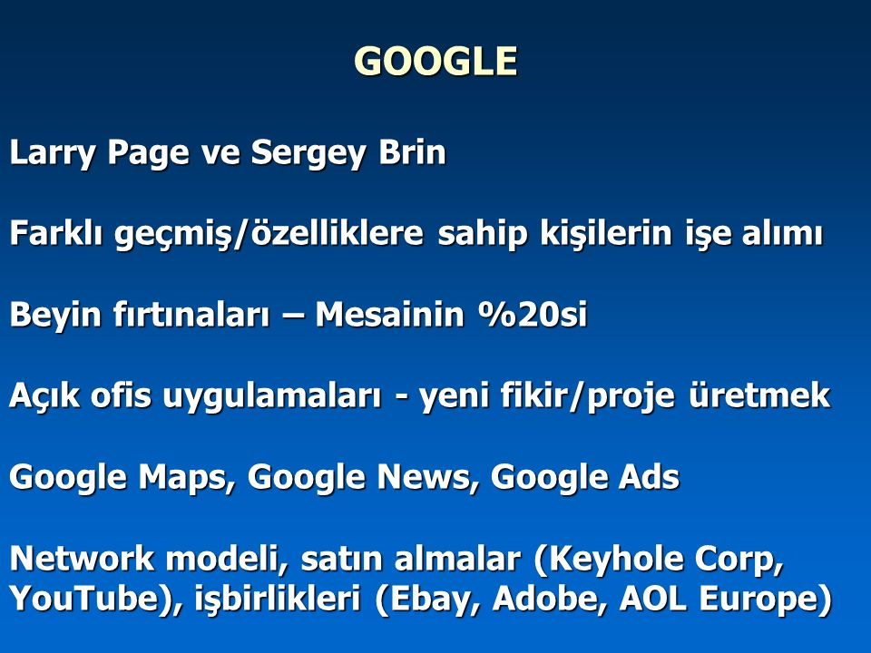 GOOGLE Larry Page ve Sergey Brin